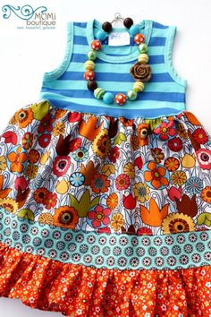 Floral Harvest dress Thanksgiving gift toddler girl dress boutique unique chunky necklace