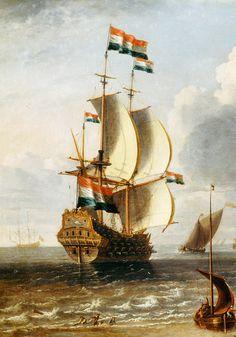 jaded-mandarin:  Lorenzo Castro. A Dutch East-Indiaman off Hoorn, 1686. Detail.
