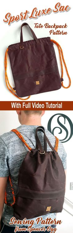 Newest No Cost sewing tutorials for the home Strategies Drawstring Backpack Sewing Pattern & video tutorial Unisex backpack tote. Brand new PDF sewing pa Backpack Pattern, Tote Backpack, Drawstring Backpack, Easy Sewing Patterns, Sewing Tutorials, Sewing Projects, Bag Patterns, Sport Luxe, Clutch Bag