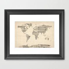 Old Sheet Music World Map Framed Art Print by ArtPause - $36.00