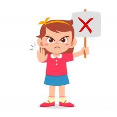 Linda chica con cartel equivocado | Premium Vector #Freepik #vector #personas #ninos #mujer #hombre