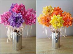 Les fleurs fraîches sont parfois onéreuses donc pourquoi ne pas troquer cette tradition par des fleurs fabriquées soi-même en origami ? C'est une des tendances de mariage !