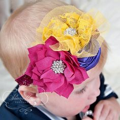 Hey, I found this really awesome Etsy listing at https://www.etsy.com/listing/240255714/fuchsia-purple-mustard-headbandflower
