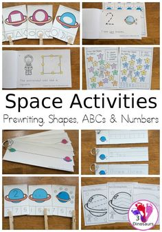 Space Activities Pack: Prewriting, Shapes, ABCs and Numbers! Solar System Activities, Space Activities, Hands On Activities, Kindergarten Lesson Plans, Kindergarten Activities, Preschool Ideas, Teaching Ideas, Abc Tracing, Printable Preschool Worksheets