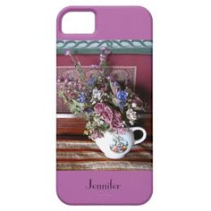 "iPhone 5/5s Case Teapot, Flowers, Radiant Orchid - I love the old fashioned mood of these flowers in a vintage teapot vase. I also adore the colors and the mismatched patterns, with a trendy shabby chic feel. This iPhone case sports a ""radiant orchid"" background. Trendy Radiant Orchid was recently selected as Pantone Color of the Year for 2014. Original photograph by Marcia Socolik. All Rights Reserved © 2013 Alan & Marcia Socolik.  #Teapot #Teapots #trendy #ShabbyChic #Vintage…"