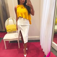 Esther Coco Berg @estherandsasha Instagram photos | Websta Picking up my custom-made birthday dress from #PinkLabel today wearing a few of the Summer's trends// #yellow #white and #asymetrical hemlines!! Top #CushnieEtOchs Skirt #tonimaticevski Pumps #christianlouboutin All available exclusively @pinklabelprgirl @rachiipoopinklabel