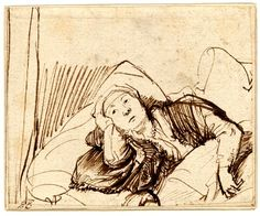 Rembrandt: A woman (probably Saskia) lying awake in bed; head and shoulders only, her hand supporting her head, the other arm resting on bedcovers. Pen and brown ink Fine Art Drawing, Life Drawing, Figure Drawing, Drawing Sketches, Art Drawings, Rembrandt Etchings, Rembrandt Drawings, Alphonse Mucha, Illustration