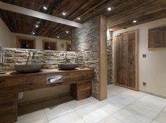 View the full picture gallery of Restaurant Zum Wildschütz Toilette Design, Chalet Interior, Restroom Design, Hotel Interiors, Old Wood, Wood Design, Wood Paneling, Interiores Design, Double Vanity