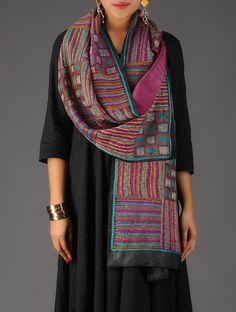 Buy Pink Black Multicolor Tussar Silk Kantha Embroidered Reversible Stole Accessories Scarves & Stoles Art Reveal Tales Online at Jaypore.com