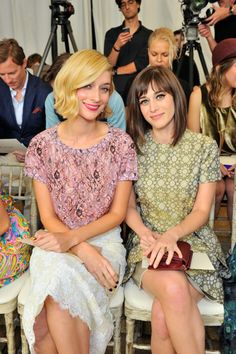 Caitlin Fitzgerald and Lizzy Caplan at the CFDAs.