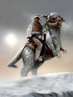 """My Lucasfilm approved backcover artwork for the Official German Star Wars Fan Club magazine """"Journal of the Whills"""" issue (www. On Tauntaun Back Star Wars Fan Art, Star Trek, Film Star Wars, Star Wars Jedi, Star Wars Rebels, Star Wars Tauntaun, Images Star Wars, Star Wars Pictures, Starwars"""