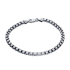 MSRP: $169.99  Our Price: $99.99  Savings: $70.00    Item Number: 615521 (58)  Availability: Usually Ships in 5 Business Days    PRODUCT DESCRIPTION:    This substantial 4.4mm sterling silver box chain bracelet features rounded links, a gunmetal finish and is oxidized to accentuate the depth of its pattern. A large oval lobster clasp completes the bracelet. Box chain has squared-off links that resemble cubes; they are sturdy chains.    FEATURES:    Crafted in Fine Sterling Silver  Polished…