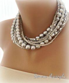 Handmade Chunky Bridal Silver Pearl Necklace by HMbySemraAscioglu, $57.00