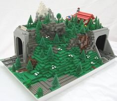 Lego curve track in mountain