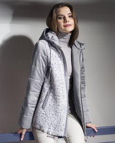 Куртка женская демисезонная цвет серый, Пальтовая ткань, артикул 1044180p60891