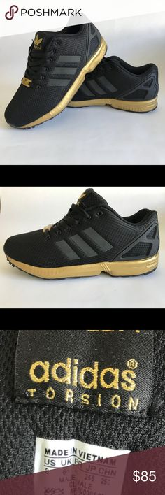 ADIDAS ZX FLUX black and gold Super cute and comfortable sneakers! Brand new in box. I ordered a size smaller than mine by mistake. adidas Shoes Sneakers