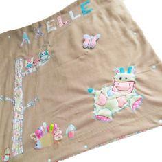 Couverture polaire brodée personnalisée 3 en 1 pour bébé thème vaches, hérisson et chouette