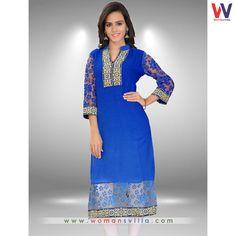 Vivacious Blue Colore Georgette Casual Kurti#Womansvilla