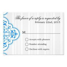 Sports Blue Elegant Damask Weddings Customizable Personalized Invitations
