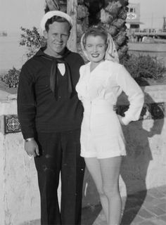 Marilyn Monroe and her first husband, Jim Dougherty, 1943.  They divorced in 1946.  He went on to become a police officer and died in 2005.