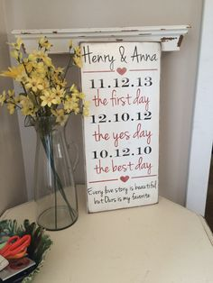 Every love story is beautiful but ours is my favorite First day Yes day Best day *Important date art *Personalized wood sign 12X24