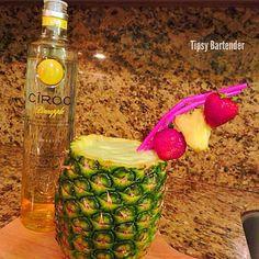 THE BABY MAKER ~ 1 1/2 oz. (45ml) Ciroc Pineapple Vodka, 1 oz. (30ml) Midori, 2 oz. (60ml) Pineapple Juice, 2 oz. (60ml) Cream of Coconut, Pineapple Chunks, Blend