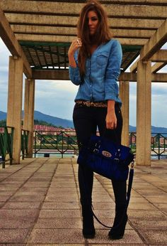 darker jeans or tailored trousers are always more flattering. denim look number 2. find more women fashion ideas on www.misspool.com