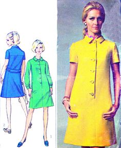 Vintage Sewing Pattern 1960s Simplicity 7473 Mod Mini Dress with Front Button Closing and Button Trimmed Back Belt Size 14 Bust 36