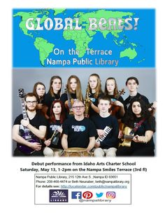 Global Beats is a newly formed group at Idaho Arts Charter School that plays all original music.  The group is comprised of an eclectic mix of instruments such as violins, saxophones, drums, bass, guitars and even a glockenspiel.  Come hear all original pieces that are influenced by world music grooves from such places as West Africa, Brazil, Cuba, Jamaica, India and the U.S.  Saturday, May 13, 2017, 1 -2pm