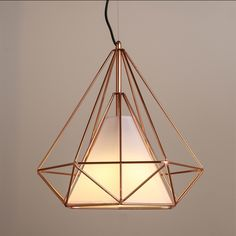 Copper Diamond Wire Cage Pendant Light. Minimalist Modern Design #60W #black #cage stair well