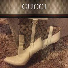 Gucci Signature Stiletto Boots Designer Gucci boots. Genuine white leather signature design. Light wear. No tears in leather but mild scuffs hard to see that can be covered with shoe polish or shined out. Made in Italy size 39C which says it converts to 9 but I am a size 8.5 and fits perfectly to that size. Gucci Shoes Heeled Boots