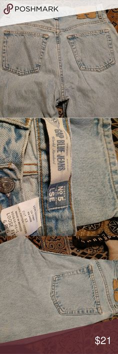 👖Super high waist 6 Vintage Gap Mom Jeans No. 5 Size 6reg loose fit vintage Gap No. 5 mom jeans. Super high waist! These jeans yell YES! Has all the right character details! A couple of small bleach stains and a tiny wear hole pictured, these are amazing!!! 🐩Open to OFFERS!! 👖 GAP Jeans