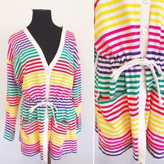 3c605b24aa05 80s 90s Vintage Rainbow Striped Long Cardigan - 1990s Rainbow Long Cardigan  - 1990s Rainbow Bathing Suit Cover