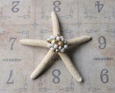 Vintage Costume Jewelry Earring Bejeweled Starfish, Beach Wedding Table Decor, Beach Cottage Coastal Style, Inspirational Bridal Gift