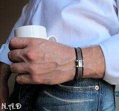 Brown Leather Mens Bracelet