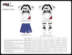 USA Rugby Club Uniform Sizing Chart for Youth, Women and Men Teams