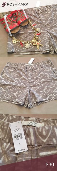 Ann Taylor linen patterned shorts - think SPRING! Adorable linen and cotton shorts in khaki/tan and cream. Goes with any color! Very versatile piece for your closet. Ann Taylor Shorts