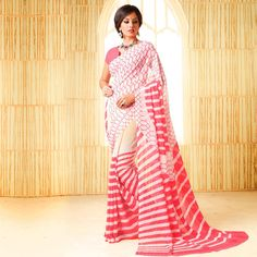 Buy White - Pink Casual Wear Saree for womens online India, Best Prices, Reviews - Peachmode