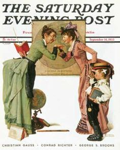 """Saturday Evening Post - 1935-09-14: """"First Day of School"""" or   """"Back to School"""" (Norman Rockwell)"""