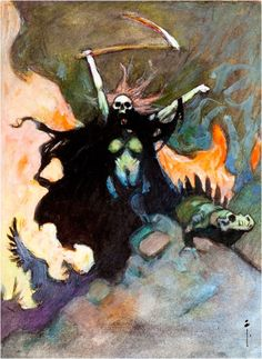 FRANK FRAZETTA - An earlier and very different take on one of Frazetta's more iconic paintings.
