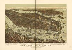 8 x 12 Reproduced Photo of Vintage Old Perspective Birds Eye View Map or Drawing of: New York and Brooklyn, with Jersey City and Hoboken water front. Parsons & Atwater - Currier & Ives 1892