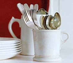 Double duty - Silverware held in coffee mugs frees up drawer space