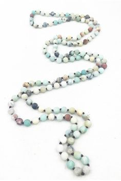 """An extra long (60"""") hand knotted beaded necklace. Composed of natural amazonite beads. Wear doubled or even tripled. Long Amazonite Necklace by Gemma Collection. Accessories - Jewelry - Necklaces - Statement Necklaces Dallas Texas"""