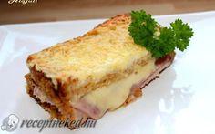 Töltött bundás kenyér recept Lasagna, Hot Dogs, Hamburger, Cake Recipes, Sandwiches, Eat, Breakfast, Ethnic Recipes, Food
