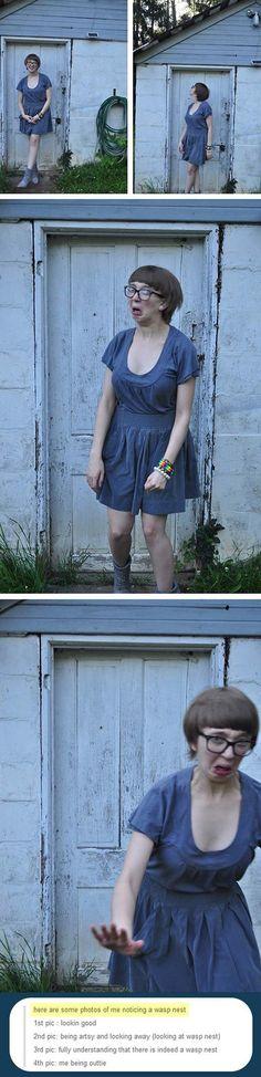 Et cette fille qui remarque un nid de guêpes au dessus d'elle : | 21 photos qui vous feront rire à tous les coups