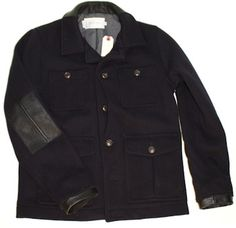 Wings + Horns Wool Utility Coat Navy #fashion #apparel