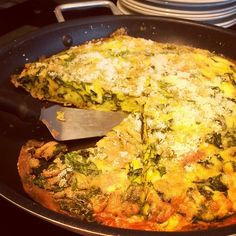 Spinach and 3 cheese frittata at Aberystwyth Arts Centre Piazza Café this lunchtime. Because 2 cheeses is never enough.