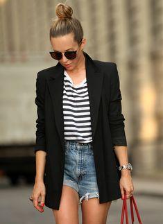 Summer Essentials via BrooklynBlonde.com / @Helena Glazer Bag: Balenciaga | Shoes: Valentino | Ring: YSL | Watch: Rolex Tudor | Blazer: Theory | Shorts: Vintage Levis | Striped Tee: H&M Wednesday, July 22, 2015