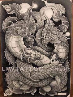 Cambodian Tattoo, Khmer Tattoo, Thai Tattoo, Dragon Tattoo Art, Dragon Art, Samurai Tattoo, Samurai Art, Koi Tattoo Design, Tattoo Designs