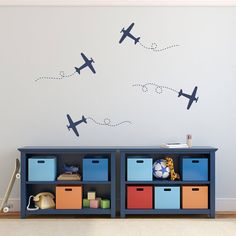 Airplane Wall Decal Set Plane Wall by StephenEdwardGraphic
